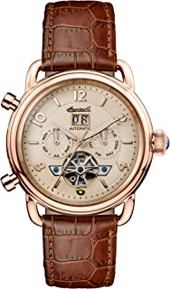 Ingersoll - Men's The New England Automatic Watch with Cream Dial and Brown Leather Strap I00901