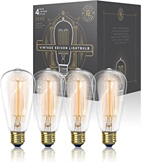 Vintage Edison Light Bulb 60W (4 Pack) - Dimmable Exposed Filament - Incandescent Clear ST58 Teardrop Squirrel Cage Style - E26 Medium Base 2700K - 210 Lumens (4 Pack)