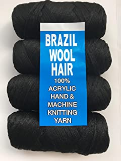 Brazilian Wool Acrylic Yarn for Hair Jumbo Braid/Senegalese Twist/Wraps (Natural black)