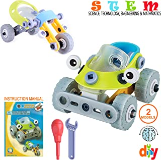 SAKIBO STEM Science Technology Engineering and Math Toys Creative Learning Building Blocks Set Best Toy Gift for Kids Boys Girls Aged 3 4 5 6+ (Car - 3 Wheeler)