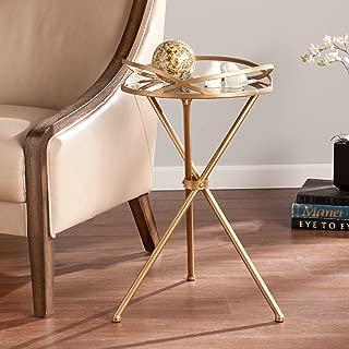 Leslie Metal Mirrored Accent Table - Anitque Bronze & Mirror Finish - Midcentury Modern