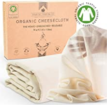 Organic Unbleached Cotton Cheesecloth for Straining, GOTS Certified, Fine Reusable Strainer – Large 18 Sq.ft.
