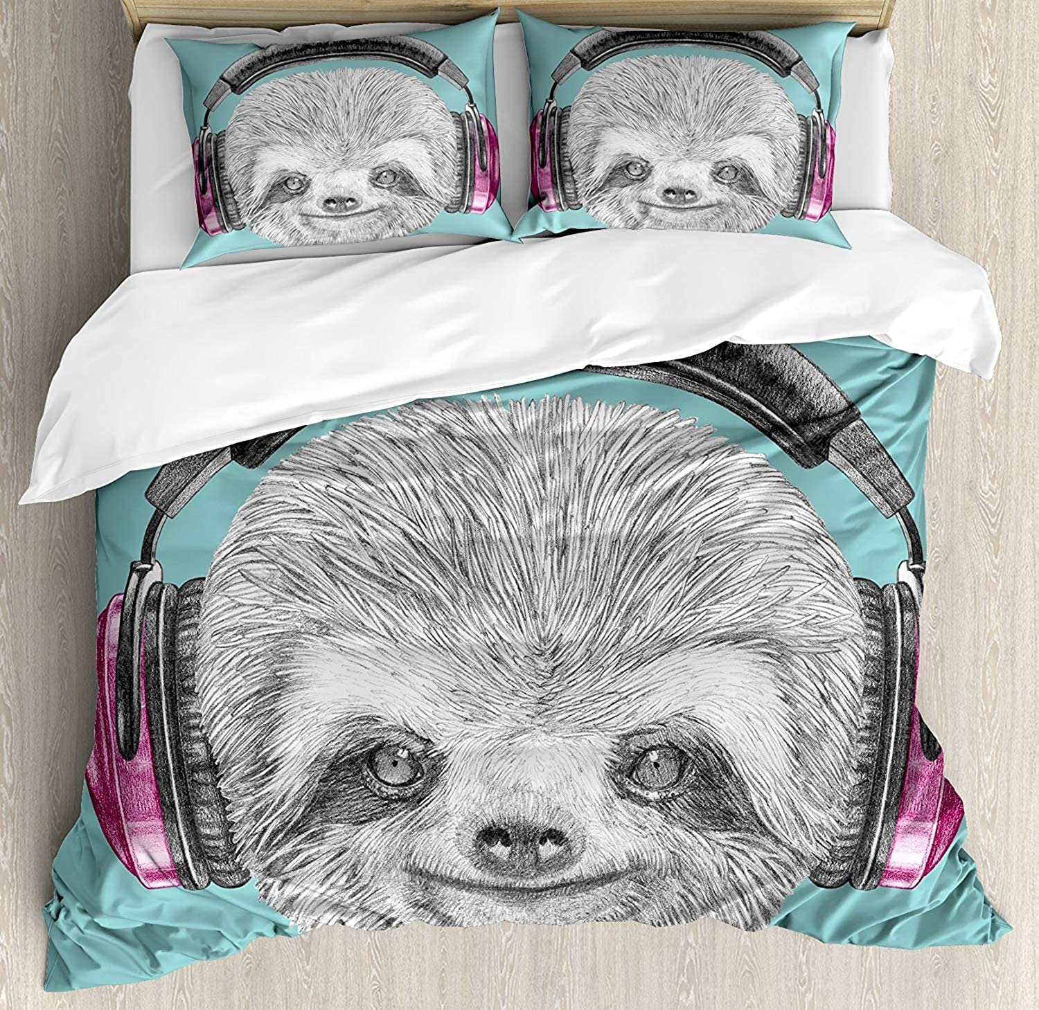 OneHoney Sloth Ultra Soft 4 Pieces Bedding Sets, DJ Sloth Portrait with Headphones Funny Modern Character Cool Cute Smiling, Luxury Decorative Bedspread Duvet Cover Set, Teal Grey Fuchsia