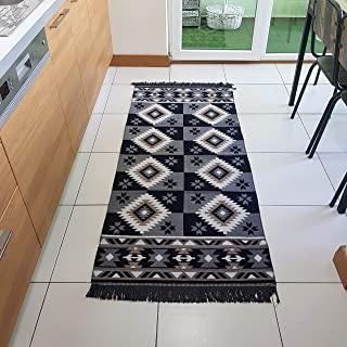 Secret Sea Collection, Southwest Style Area Rug & Runner, Cotton (2.5 'x 6' feet, Grey-Black)