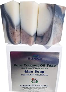 Pure Coconut Oil Soap for Men (10.5 oz) - Cleanse, Exfoliate, Refresh. Handmade, Vegan, Moisturizing, Activated Charcoal, Pumice and Alkanet Root