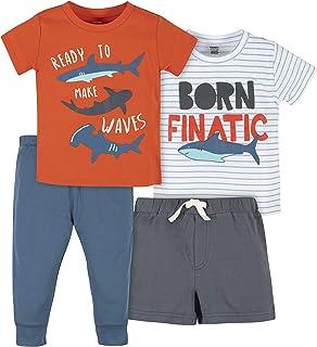 Gerber baby-boys 4-Piece Short, Shirts, and Active Pant Set Pants Set