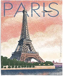 "Dia Noche Fleece Blankets Soft Fuzzy 4 Sizes! by Lantern Press Eiffel Tower Paris - Toddler 40"" x 30"""