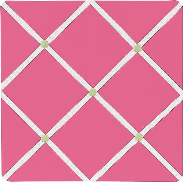 甜美 Jojo 设计粉色和绿色花朵织物记忆备忘录照片公告板