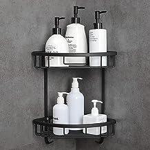 Hoomtaook doucheplank zonder boren badkamerplank RVS zelfklevend aluminium geven een zeepkist 2 laags zwart