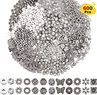 EuTengHao 600pcs Spacer Beads Jewelry Bead Charm Spacers Alloy Spacer Beads for Jewelry Making DIY Bracelets Necklace and Crafting (12 Styles,Dull Silver and Bright Silver)