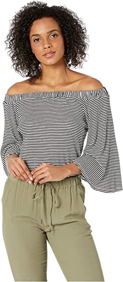 Yarn-Dye Stripe Rib On and Off Shoulder Top