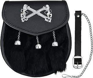 Rampant Lion St. Andrews Sporran with 3 Tassles Black rabbbit Fur Sporran