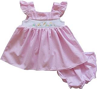 Good Lad Newborn/Infant Girls Pink Seersucker Bunny Smocked Embroidered Easter Dress