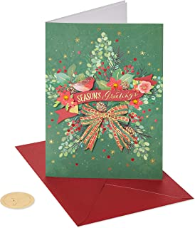 Papyrus Holiday Cards Boxed, Traditional Wreath (8-Count)