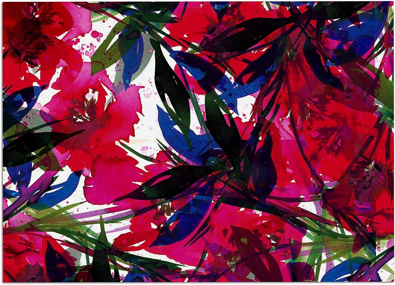 KESS InHouse JD1254ADM02 EBI Emporium Floral Fiesta  Red bluee Maroon Dog Place Mat, 24  x 15