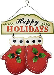 SJL Company Snowy Santa Holiday Hanging Signs (Happy Holidays)