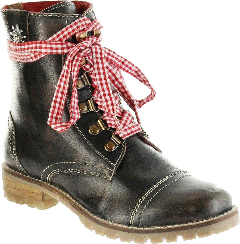 Bergheimer Trachtenschuhe Trachtenschuhe Stiefel braun glatt Leder Stiefelette Damen Schuhe Tauplitz  Spiel bis zu 70%