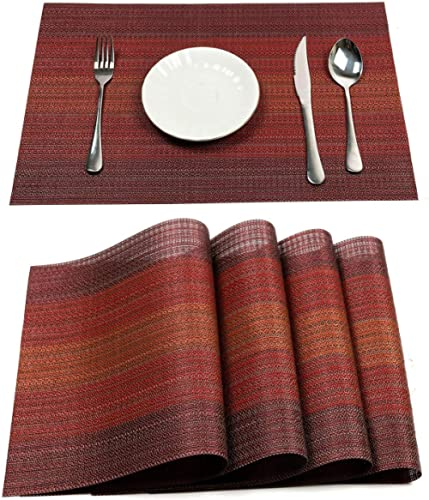 Pauwer Placemats Set of 8 for Dining Table Washable Woven Vinyl Placemat Non-Slip Heat Resistant Kitchen Table Mats E...