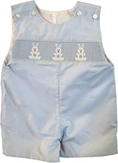Edgehill Baby Boy Shortall, Blue Smocked with White Bunnies