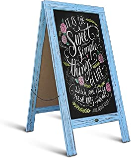 Rustic Robin Blue A-Frame Chalkboard/Sidewalk Chalkboard Sign/Large Sturdy Sandwich Board/A Frame Restaurant Message Board/Freestanding Wooden Menu Display Sign