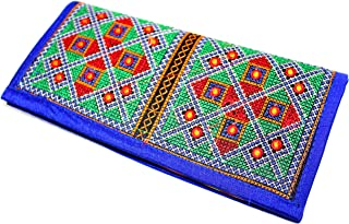 Kutch Embroided Handcrafted Women's Clutch Hangbags/Purse Tribal Bohemian Banjara Bags from India (blue)