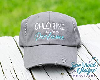 Chlorine is my Perfume Hat, Embroidered Distressed High Ponytail Baseball or Trucker Hat