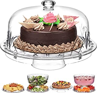Godinger 6 in 1 Cake Stand and Serving Plate Platter with Dome Cover, Multi-Purpose Use, Shatterproof and Reusable Acrylic...