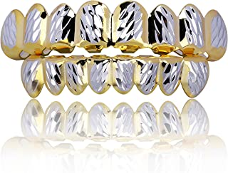 JINAO 18K Gold Plated Gold Finish 8 Top Teeth & 8 Bottom Tooth Hip Hop Mouth Grills