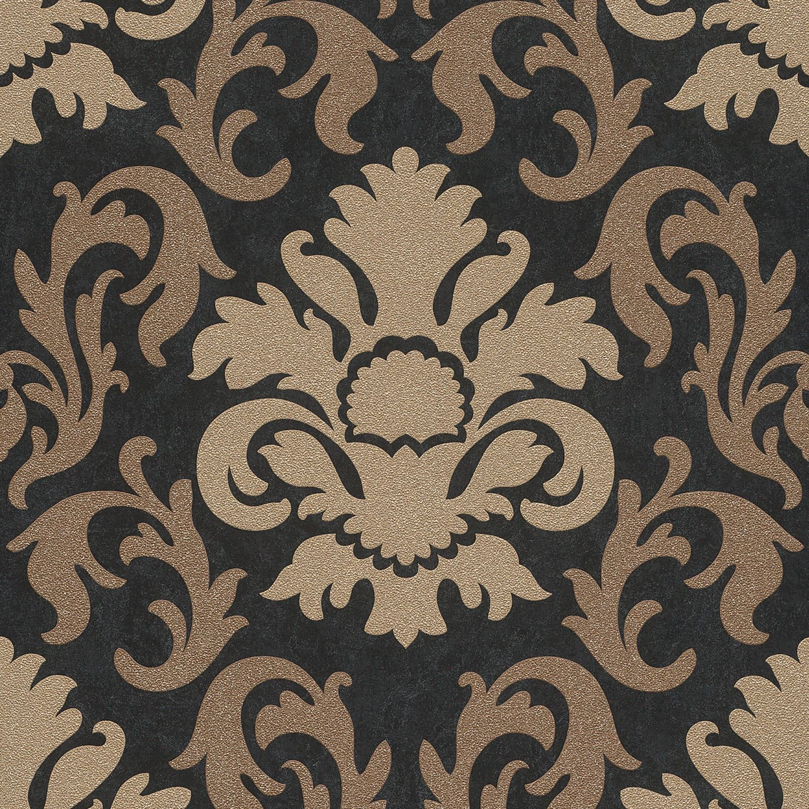 Gold Glitter Damask Wallpaper Gold And Black 13343 90 Amazon Co Uk Diy Tools