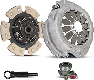 Clutch With Slave Kit Works With Suzuki SX4 Base Crossover Le Sport Gts Se JLX Jx Hatchback Sedan 2007-2010 2.0L L4 GAS DOHC Naturally Aspirated (5 Speed Transmission Only; 6-Puck Clutch Disc Stage 2)