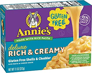 Annie's Macaroni & Cheese, Gluten Free Creamy Deluxe & Cheesy Cheddar, Rice Pasta & Cheese Sauce, 11oz Box
