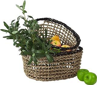 Made Terra Set of 2 Oval Nesting Wicker Woven Storage Basket Bins, Decorative Organiser Baskets for Living Room, Bathroom,...