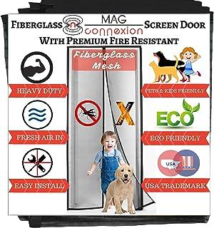 Mag-Connexion Screen Door 36 x 96 | Reinforced Fiberglass Mesh Curtain Entry Door Mesh with Full Frame Hook&Loop Fits Door...