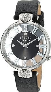 Versus by Versace Women's KRISTENHOF Stainless Steel Quartz Watch with Leather Calfskin Strap, Black, 106 (Model: VSP490118)