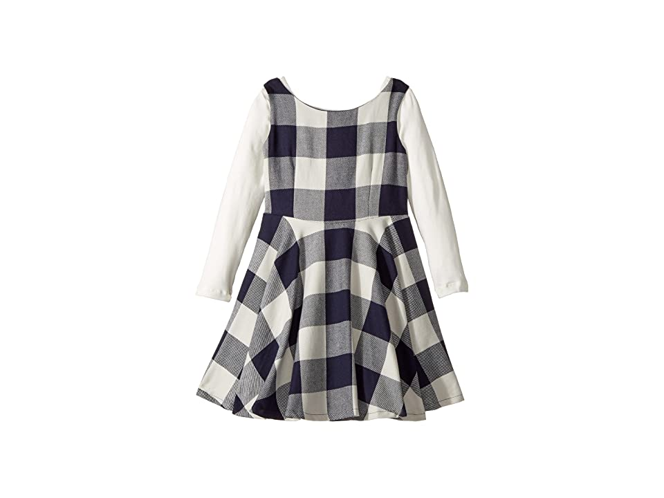fiveloaves twofish Flannel Fit N Flare Dress (Toddler/Little Kids) (Navy Buffalo Check) Girl