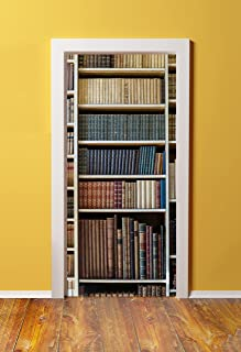 Windowpix DoorPix 36x80 / 36 x 80 3D Door Mural Wrap Glossy Bubble Free Sticker Bookshelf of First Edition Classic Novels - Peel and Stick - Easy-to-Clean, Durable