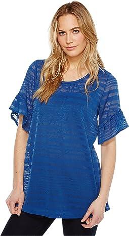 Ruffled Sleeve Sheer Stripe Tunic