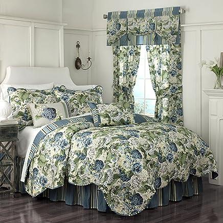 WAVERLY Floral Flourish Quilt Set 90x104 Porcelain