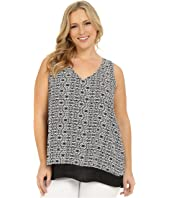 Karen Kane Plus - Plus Size Split-Back Double Layer Tank Top
