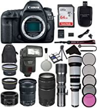 Canon EOS 5D Mark IV Digital SLR Camera Bundle with Canon EF 24-105mm f/3.5-5.6 IS STM Lens + Canon EF 75-300mm f/4-5.6 III Lens + Canon EF 50mm f/1.8 STM Lens + Accessory Kit (22 items)