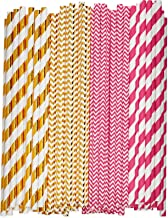 [200 Pack] Pink & Rose Gold Paper Drinking Straws 100% Biodegradable Multi-Pattern Party Straws