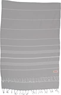 Bersuse 100% Cotton - Anatolia XL Throw Blanket Turkish Towel Pestemal - Bath Beach Fouta Peshtemal - Multipurpose Bed or Couch Throw, Table Cover or Picnic Mat - Striped - 61X82 Inches, Silver Grey
