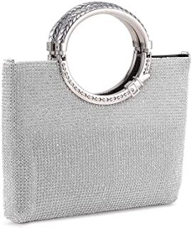 UBORSE Rhinestones Crystal Clutch Evening Bags for Women Ring Handle Wedding Party Clutch Purses Cocktail Prom Handbags