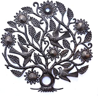 Haiti Tree of Life Wall Plaque, Decorative Metal Tree, Wall Decor Haitian Hanging Art, Indoor or Outdoor Decoration, Handmade in Haiti, NO Machines Used, 24 in. x 24 in. (Sunflower Tree)