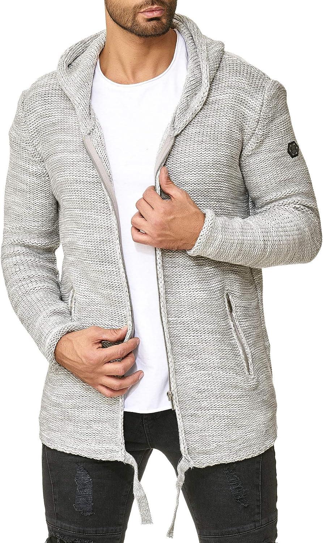 Redbridge C/árdigan de Punto para Hombre Pul/óver Jersey con Cremallera y Cuello Alto Basic Luxury