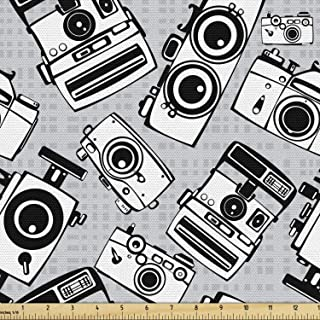 Ambesonne Hipster Fabric by The Yard, Vintage Film Photo Cameras Grayscale Pattern Photography Hobby Theme, Decorative Fab...