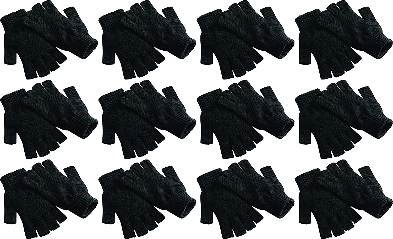 Fingerless Winter Gloves, 12 Pairs Half Finger Stretchy Warm Knit Bulk Pack Mens Womens