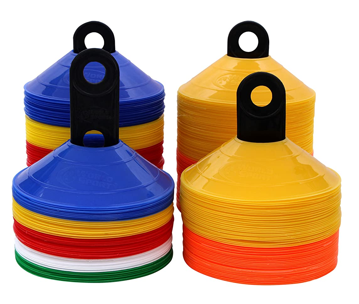 World Sport Disc Cone Sets (50 or 100 Multi Color / 50 or 100 Half Orange Half Yellow)