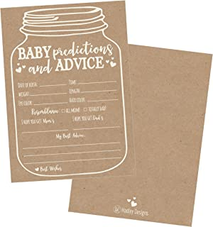 50 Mason Jar Advice and Prediction Cards for Baby Shower Game, New Mom & Dad Card or..