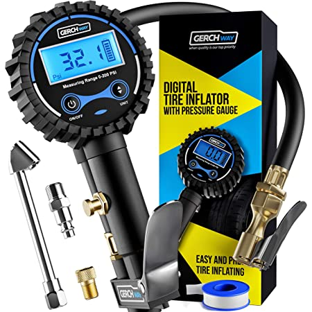 Digital Tire Inflator with Pressure Gauge and Longer Hose, Air Chuck with Gauge for Air Compressor - 200PSI